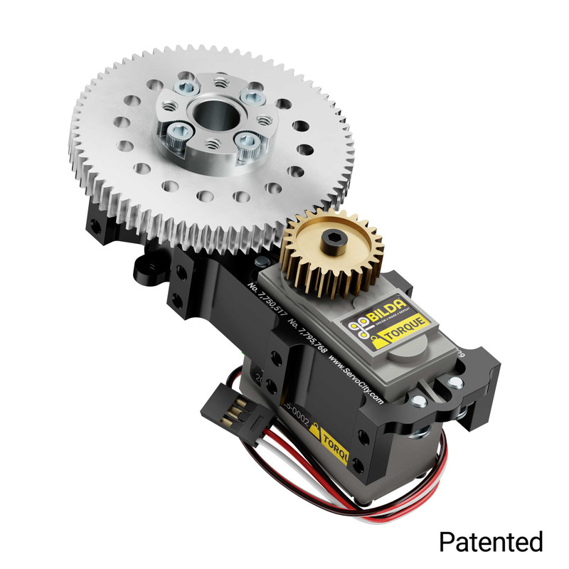 SG12 Series Servo Gearbox (3:1 Ratio, Continuous Rotation, 1050 oz-in, 20 RPM)