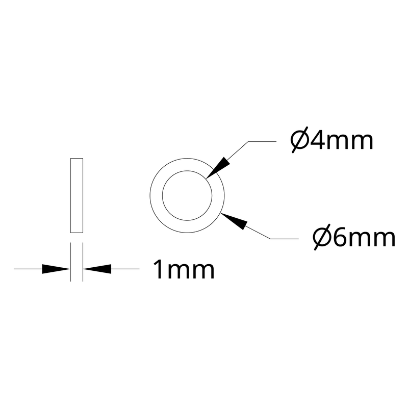 1500 Series Plastic Spacer (4mm ID x 6mm OD, 1mm Thickness) - 12 Pack