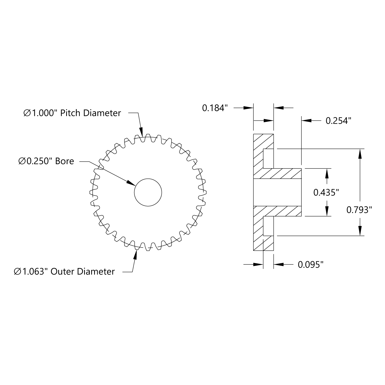 3//16 inch Bore 32 Pitch Plain Bore Gear By ServoCity # SPBD32-33-15 15T