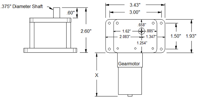 Worm Gearbox Schematics - WDG30P