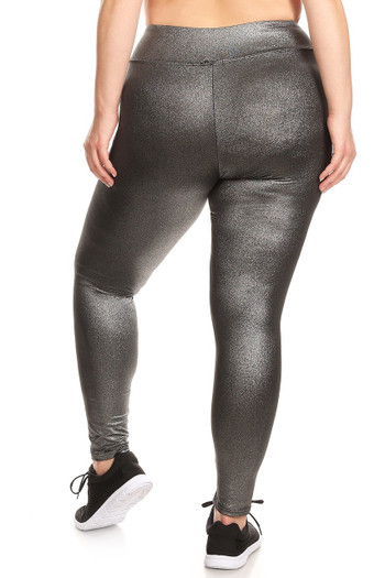 Wholesale - High Waisted Metallic Silver Fitness Leggings - Plus Size