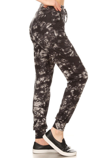 Wholesale - Buttery Soft Black and Gray Tie Dye Joggers