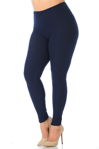 Black Wholesale - Buttery Soft High Waisted Plus Size Basic Solid Leggings - 3 Inch Band