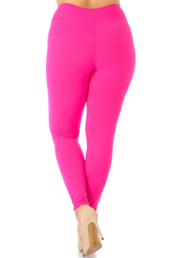 Fuchsia Wholesale - Buttery Soft High Waisted Plus Size Basic Solid Leggings - 3 Inch Band - Rear Image