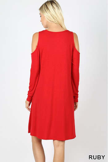Wholesale - Premium Long Sleeve Cold Shoulder Rayon Tunic / Dress with Pockets