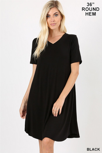 Wholesale - V-Neck Round Hem Short Sleeve Rayon Top with Pockets - 36 Inch Length