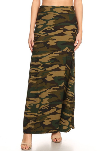 Wholesale - Buttery Soft Green Camouflage Maxi Skirt