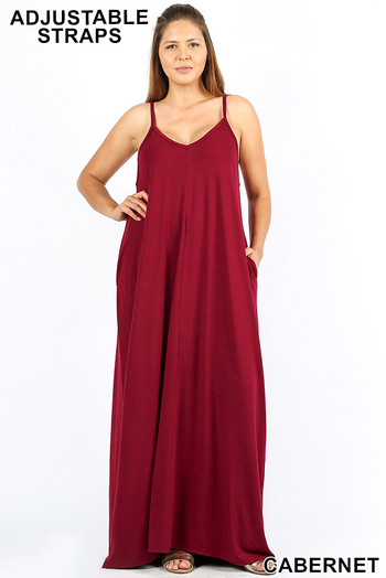 Wholesale - Adjustable V-Neck Rayon Plus Size Maxi Dress with Pockets - 51 Inch LengthA