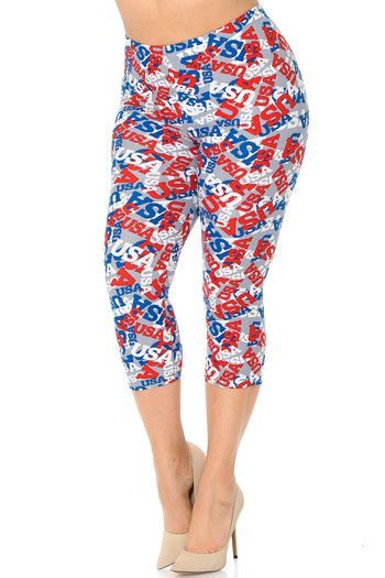 Wholesale - Buttery Soft All Over USA Capris - Plus Size