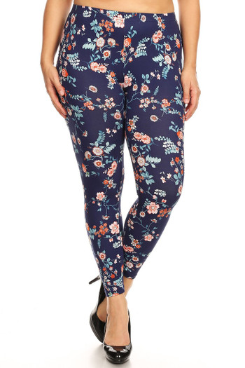 Wholesale - Buttery Soft Spring Asian Floral Plus Size Leggings