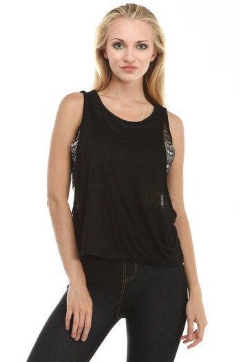 Wholesale - Double Layered Lace Insert Tank Top