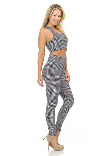 Wholesale - Buttery Soft Burgundy Accent Houndstooth Plaid Bra and Leggings Set