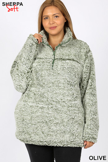 Wholesale - Popcorn Sherpa Half Zip Plus Size Pullover with Side Pockets