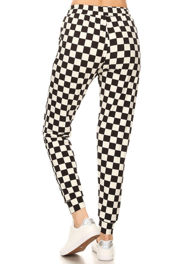 Wholesale - Brushed Black and White Checkered Joggers - Plus Size