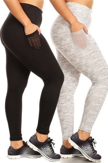 Wholesale - Buttery Soft Sport Basic Plus Size Leggings with Side Pockets