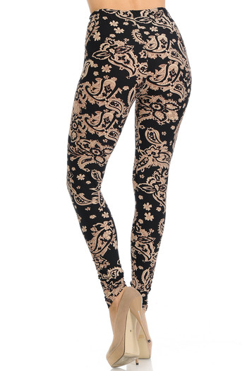 Wholesale - Buttery Soft Sand Pepper Paisley Extra Plus Size Leggings - 3X-5X