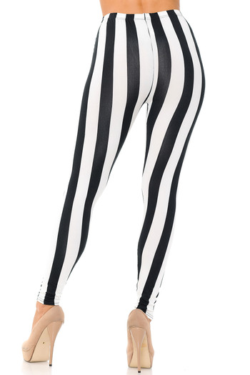 Wholesale - Buttery Soft Black and White Wide Stripe Leggings