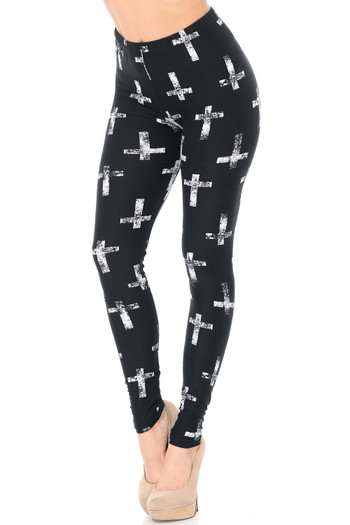 Wholesale - Buttery Soft Faded Cross Extra Plus Size Leggings - 3X-5X