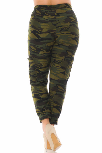 Wholesale - Buttery Soft Green Camouflage Cargo Joggers - Plus Size - New Mix