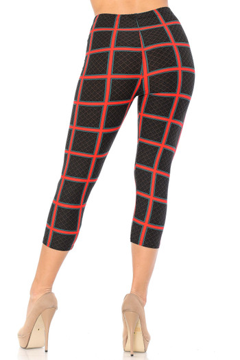 Wholesale - Buttery Soft Red Grid Textured Capris