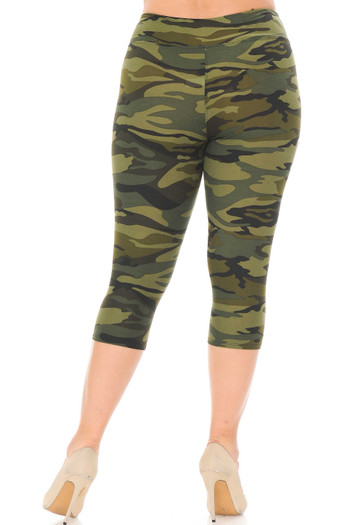 Wholesale - Buttery Soft Green Camouflage High Waist Capris - Plus Size - 3 Inch