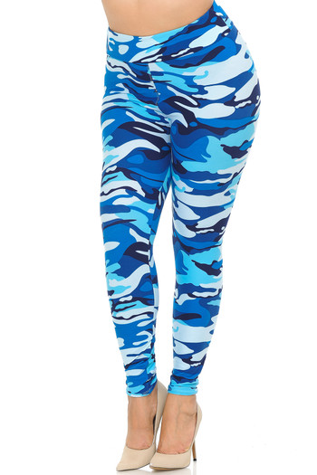 Wholesale - Buttery Soft Blue Camouflage High Waisted Leggings - Plus Size - EEVEE