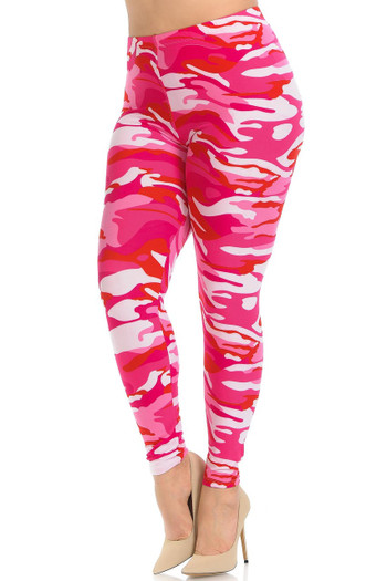Wholesale - Buttery Soft Pink Camouflage Extra Plus Size Leggings - 3X-5X - EEVEE