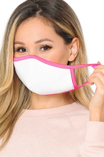 Wholesale - Singles - 2 Ply Cotton Inner Silky Scuba Outer Face Masks - Made in the USA - Reusable - Female Sizing