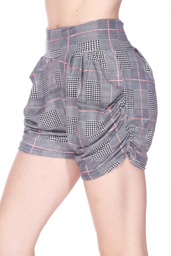 Wholesale - Buttery Soft Coral Accent Textured Houndstooth Harem Plus Size Shorts