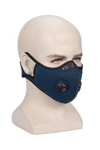 Wholesale - Navy Blue Dual Valve Mesh Sport Face Mask with PM2.5 Filter