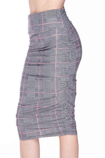 Wholesale - Buttery Soft Coral Accent Glenn Plaid Pencil Skirt