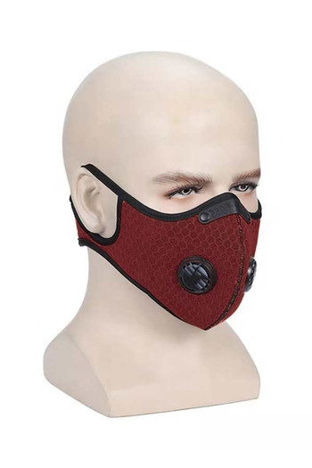 Wholesale - Burgundy Dual Valve Mesh Sport Face Mask with PM2.5 Filter