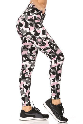 Wholesale - Pink Camouflage Sport Leggings with Cargo Pocket