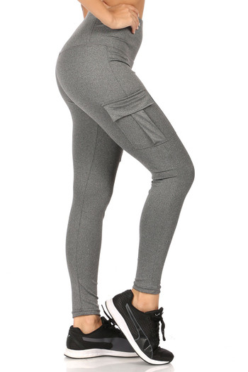 Wholesale - Solid High Waist Tummy Control Sport Leggings with Cargo Pocket