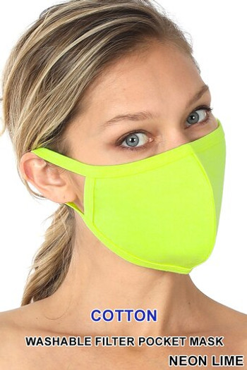Wholesale - Neon Lime Solid Cotton Face Mask - Imported