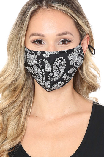Wholesale - Giant Black Paisley Bandana Fashion Face Mask with Built In Filter and Nose Bar