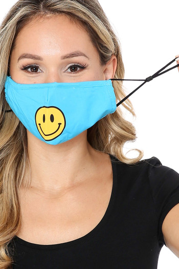Ear Strings Wholesale - Bright Blue Smiley Face Mask with Built In Filter and Nose Bar