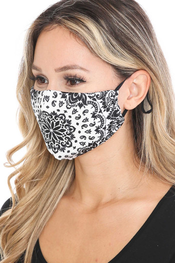 Wholesale - Black and White Blooming Paisley Graphic Print Face Mask