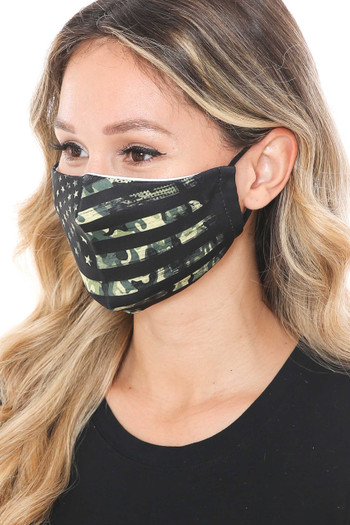 Wholesale - Camouflage USA Flag Graphic Print Face Mask