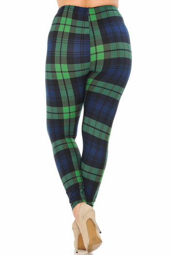 Wholesale - Buttery Soft Green Plaid Extra Plus Size Leggings - 3X - 5X