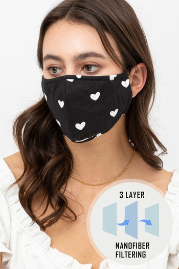 Wholesale - Tiny Hearts Face Mask with Built In Micro Filter and Nose Bar