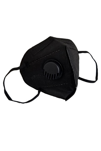 Wholesale - Black KN95 Face Mask with Air Valve - Individually Wrapped