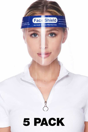 Wholesale - Protective Face Shields - Anti Splash Film with Elastic Band and Comfort Sponge - 5 Pack