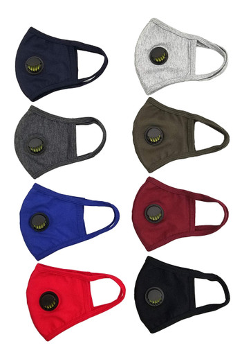 Wholesale - Unisex Cotton Face Mask with Air Valve and PM2.5 Filter Pocket - Made in USA