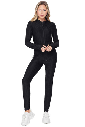 Wholesale - 2 Piece Brazilian Scrunch Butt Leggings and Jacket Set with Thumb Hole
