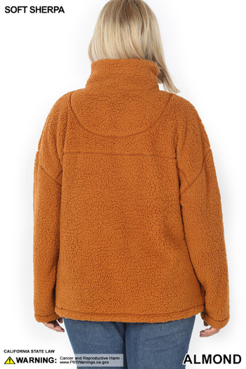 Back side image of Almond Wholesale - Sherpa Half Zip Plus Size Pullover with Side Pockets