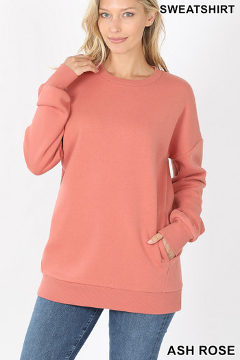 Front image of Ash Rose Wholesale - Round Crew Neck Sweatshirt with Side Pockets