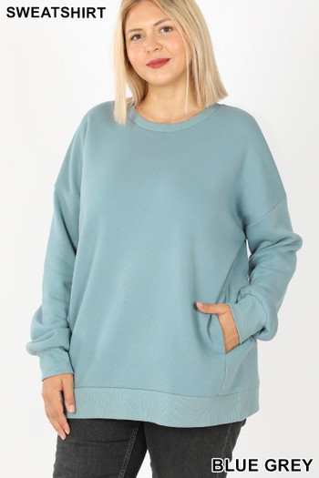 Front image of Blue Grey Wholesale - Cotton Round Crew Neck Plus Size Sweatshirt with Side Pockets