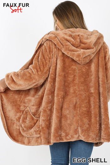 Back Image of Eggshell Wholesale - Faux Fur Hooded Cocoon Plus Size Jacket with Pockets