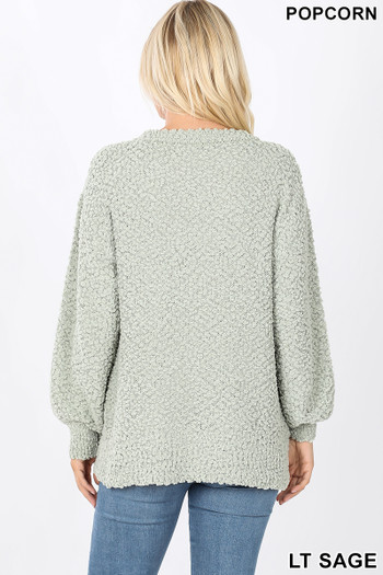 Back image of Sage Wholesale - Popcorn Balloon Sleeve Round Neck Pullover Sweater